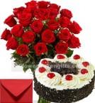 send 1Kg Egggless Black Forest Cake 25 Red Roses Bouquet n Card delivery