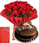 send 1Kg Eggless Black Forest Cake with 25 Red Roses Bouquet n Card delivery