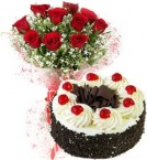 send 1Kg Eggless Black Forest Cake N Red Roses Bouquet delivery