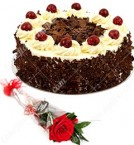 send 1 Red Roses Flower n Black Forest Cake Half Kg delivery