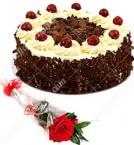 send 1 Red Roses Flower n Black Forest Cake Half Kg delivery