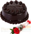 send 1 Rose n half kg chocolate truffle cake delivery