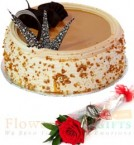 send Half Kg Eggless Butterscotch cake n 1 Red Rose delivery