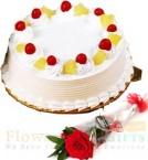 send Half Kg Pineapple cake n 1 Red Rose delivery