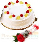send Half Kg Eggless Pineapple cake n 1 Red Rose delivery