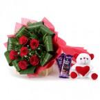 send teddy silk chocolate bouquet delivery