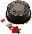send 1Red Rose n Eggless Chocolate truffle cake Half Kg delivery