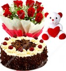 send Half Kg Black Forest Cake Red Roses Bouquet Teddy Bear delivery
