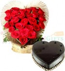 send 1Kg Heart Shaped Eggless Chocolate Truffle Cake n Roses Heart Shape Bouquet delivery