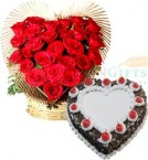 send 1Kg Heart Shaped Eggless Black Forest Cake n Roses Heart Shape Bouquet delivery