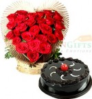 send Half Eggless Chocolate Truffle Cake n Roses Heart Shape Bouquet delivery