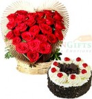 send 500gms Eggless Black Forest Cake n Roses Heart Shape Bouquet  delivery