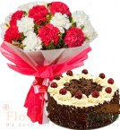 send Half Kg Black Forest Cake n Carnation Flower Bouquet delivery