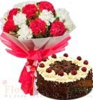 send Half Kg Black Forest Cake n Carnation Flower Bouquet delivery