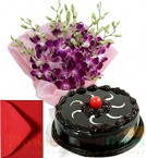 send Orchid Bunch with Half Chocolate Truffles Cake Card delivery