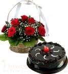 send Chocolate Traffle Cake Half Kg N Red Roses Basket delivery