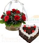 send 1Kg Heart Shape Eggless Black Forest Cake N Red Roses Basket delivery
