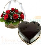 send Heart Shape Chocolate Truffle Cake 1Kg Eggless N Red Roses Basket delivery