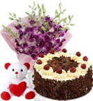send 500gm Black Forest Cake Orchid Flower Bouquet Teddy delivery