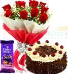 send Half Kg Black Forest Cake Cadbury Dairy Milk Silk n Roses Flower Bouquet delivery