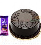 send Half Kg Chocolate Truffle Cake n Dairy Milk Silk Chocolate delivery