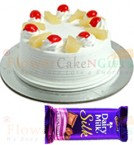 send Half Kg Pineapple cake  n Dairy Milk Silk Chocolate delivery
