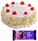 send Half Kg White Forest Cake n Dairy Milk Silk Chocolate delivery