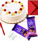 send half kg pineapple cake 2pcs chocolate n card delivery