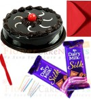 send half kg chocolate truffle cake 2pcs chocolate n card delivery