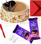 send half kg butterscotch cake 2pcs chocolate n card delivery