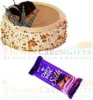 send half kg butterscotch cake Dairy Milk Silk Chocolate delivery