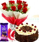 send Half Kg Black Forest Cake Cadbury Dairy Milk Silk n Roses Flower Bouquet delivery