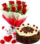 send Half Eggless Black Forest Cake n Roses Bouquet N Teddy delivery