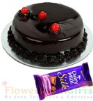 send Half Kg Chocolate Cake Dairy Milk Silk Chocolate delivery