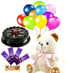 send Combo of Teddy Eggless Truffle Cake Chocolates n balloons delivery