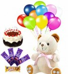send Combo of Teddy Eggless Black Forest cake Chocolates and balloons delivery