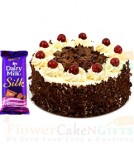 send Half kg Black Forest Cake n Dairy Milk Silk Chocolate delivery
