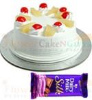 send Half Kg Pineapple cake n Dairy Milk Silk Chocolate delivery