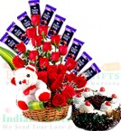 send Black Forest Cake Teddy Roses Flower Chocolate bouquet delivery