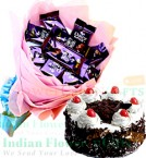 send Cadbury Dairy Milk Chocolate Bouquet n Half Kg Black Forest Cake delivery