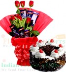 send Half Kg Black Forest Cake n Rose Chocolate Bouquet delivery