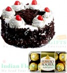 send Black Forest Cake Half Kg N Ferrero Rocher Chocolate Gift Box delivery