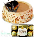 send Butterscotch Cake Half Kg N Ferrero Rocher Chocolate Gift Box delivery