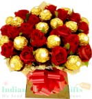 send Roses n Ferrero Rocher Chocolate Bouquet delivery