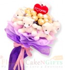 send teddy n ferrero rocher Chocolate bouquet delivery