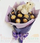 send Teddy Ferrero Rocher chocolate bouquet delivery