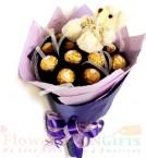 send Teddy Ferrero Rocher chocolate bouquet delivery