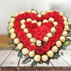 send Ferrero Rocher chocolate and Red Roses heart shaped bouquet delivery