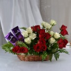 send Red Roses Flower n dairy milk silk chocolate Basket arrangement delivery