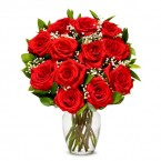 send 12 red roses in a vase delivery